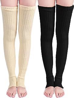 Sumind 2 双 69.85 厘米长针织护腿过膝冬季护腿长筒袜女士和女孩适用