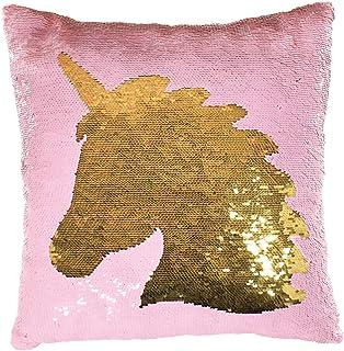 iscream 独角兽剪影 40.64 厘米 x 40.64 厘米双面亮片柔软羊毛背枕