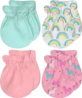 MODERN BABY 新生儿连指手套适用于女婴和男婴 4 件装 0-3 个月 婴儿 无划痕 手套 * 纯棉