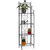 Relaxdays 金属花架,4个架子,可折叠,耐候,植物架,高 x 宽 x 深:157 x 44 x 24 厘米,黑色