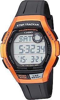 Casio 卡西欧 男式 Step Tracker 不锈钢石英运动手表,树脂表带,黑色,22(型号:WS-2000H-4AVCF)