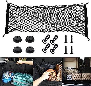 后置货箱收纳网可调节重型货物网,适用于汽车 SUV 卡车汽车双层网眼货物网带挂钩