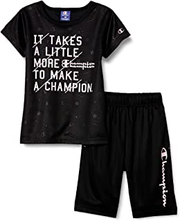 Champion T恤·短裤套装 手写体徽标 T西装/套装 图形印花 家居服 运动 训练 健身房 社团活动 休闲 CK-TSW05 女孩