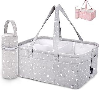 StarHug 婴儿尿布盒收纳盒 – 婴儿淋浴篮 | 大型育儿室储物箱,适用于换尿布台 | 汽车旅行手提袋 | 新生儿注册表 | 附赠奶瓶冷却器 | 灰色