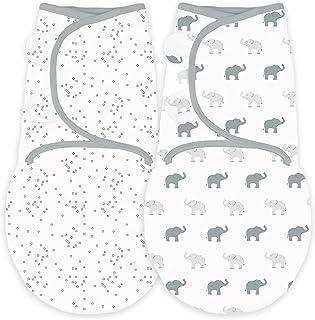 神奇宝贝2件装襁褓毯带可调节包装,小号 Sterling Tiny Elephants and Confetti 小号