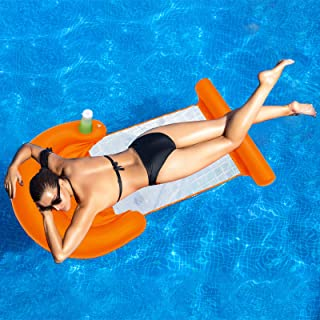 ALLADINBOX 3 合 1 充气泳池浮动休息室,多功能泳池椅(躺椅,椅子,漂流器),带饮料架和腿部休息,便携式水吊床,橙色