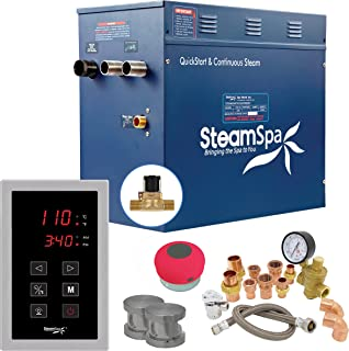 SteamSpa Premium 10.5 KW QuickStart Acu-Steam 浴室发生器套装,内置拉丝镍自动排水功能 | 蒸汽发生器带触摸屏自动排水蓝牙音箱 240V | PRT1050BN-A-F
