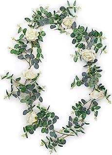 Birch Group 人造桉树花环 经典白色丝绸玫瑰花 - 177.8 厘米人造桉树绿植花环 带银色叶子 适用于婚礼绿篱、家居装饰和聚会