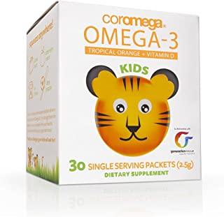Coromega 儿童 Omega 3 鱼油补充剂,650mg Omega-3s,热带橙+维生素D,30包