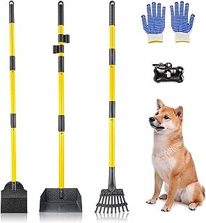 Akcmpet 狗狗粪便勺 **勺 适用于大型犬和小型犬 金属宠物粪便托盘 耙子和铲子套装 带长手柄 适用于污垢、砾石、草坪、草坪 ( M )