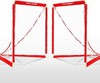 eJet-Sport 长曲棍球目标青少年和儿童青少年后院训练、练习和锻炼,2 件套,红色