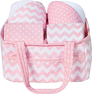 Trend Lab粉色天蓝色婴儿沐浴礼品篮5件套 粉色天空