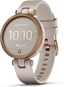 Garmin Lily™ 小型GPS智能手表,带触摸屏和图案镜头,玫瑰金和浅棕褐色