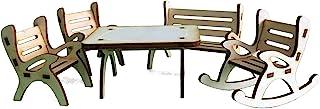 Petra's Craft News A Table GMH06FS2 5 件套餐桌套装,包含 1 x 1 x 1 x 摇椅和 2 把木制花园长椅