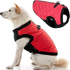 Gooby Fashion Quilted Bomber Dog Vest with Stretchable Chest, Red, X-Small