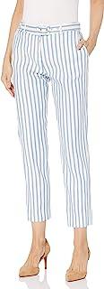 Tahari ASL 女士束带细条纹亚麻九分裤