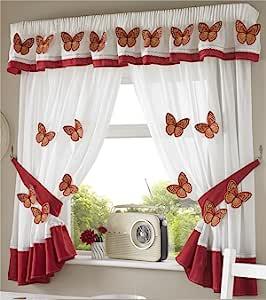 蝴蝶铅笔褶厨房窗帘和背带,白色/橙色,116.84 x 106.68 cm 白色/橙色 46 x 54-Inch 12399231