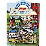 Melissa & Doug 汽车蓬松贴纸玩具套装,双面背景,32 个可重复使用的蓬松贴纸