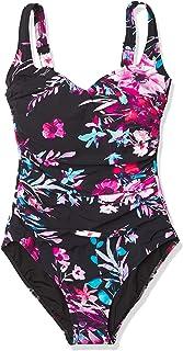 Gottex 女士 Rainbow Zebra Shaped Square Neck One Piece Swimsuit