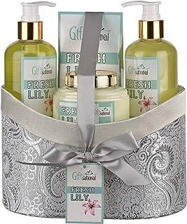 带清新百合香水的 Spa 礼品篮,包括沐浴露、泡泡浴、身体乳和浴盐,*生日、周年纪念或圣诞礼物