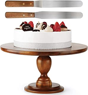Acacia 木制蛋糕架 - 13 英寸(约 33 厘米)蛋糕架 - 旋转蛋糕装饰架 - * 天然,适合派对、婚礼、餐厅使用 - 非常稳固 Walnut Color1