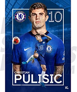 Be The Star Posters Chelsea FC 2020/21 Christian Pulisic A2 足球海报/印刷/墙艺术 - 官方*产品 - 提供 A3 和 A2 (A2),蓝色