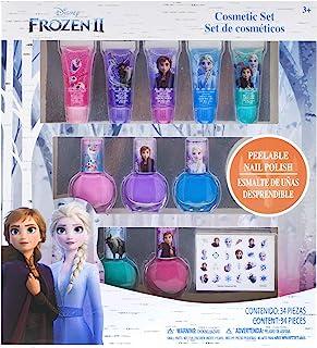 Townley Girl 迪士尼主题闪闪发光的化妆品套装,带有唇彩,波兰和甲贴(冰雪奇缘主题)