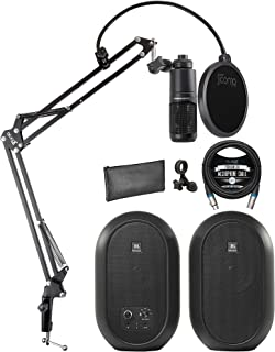 JBL 1 系列 104-BT 紧凑型桌面参考显示器带蓝牙(一对)捆绑 Audio Technica AT2020 电容麦克风、Blucoil 10 英尺平衡 XLR 电缆和 Boom Arm Plus Pop 过滤器
