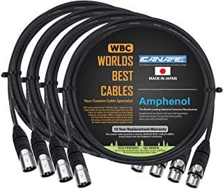 4 件 – 6 英尺(约 1.8 米)– Canare L-4E6S,星形四平衡公对母麦克风电缆,带 Amphenol AX3M 和 AX3F 银色 XLR 连接器 – 由 WORLDS BEST CABLES 定制