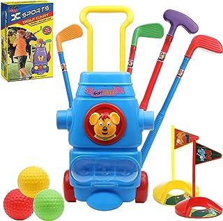 High Bounce 儿童高尔夫球俱乐部套装 – 多功能高尔夫运动套装玩具,带轮子高尔夫球车,3 个球,2 个练习孔和 4 根高尔夫棒,适合年轻高尔夫球手、幼儿、男孩和女孩