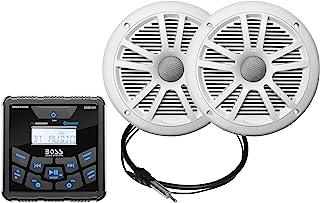 BOSS Audio Systems MCKGB450W.6 防风雨船用仪表接收器和扬声器套装 - IPX6 接收器,6.5 英寸扬声器,蓝牙音频,USB MP3,AM FM,NOAA 气象频调谐器,无 CD 播放器