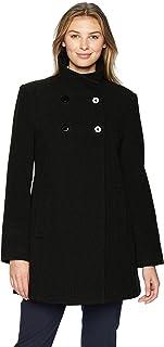 LARRY LEVINE 女士双排扣毛绒羊毛大衣