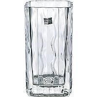 ADERIA 透明玻璃花瓶 长9.2×宽9.2×高17.2cm 1件装 日本制造 P-6496