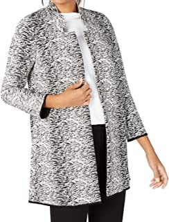 Alfani 纹理提花开襟夹克-XL-黑色/白色
