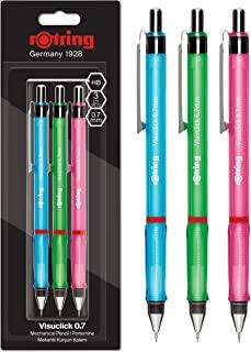 rOtring Visuclick 自动铅笔   0.7 毫米   2B 铅   活泼粉色、橙色和蓝色笔杆   3 支装