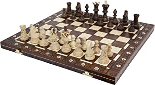 Wegiel 手工制作 欧洲大使国际象棋套装-木质 21英寸榉木&桦木板 带毡底座 - 雕角木&梧桐木棋子 - 棋盘隔层可收纳每颗棋子