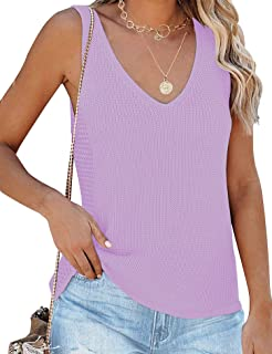 LOMON 女式 V 领背心可调节肩带沙滩衬衫无袖夏季衬衫