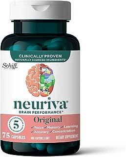 NEURIVA Original 胶囊,脑支持补充剂(每瓶75粒),含有磷脂酰丝氨酸,不含麸质,不含咖啡因-让您更加专注,更加专心,增强学习能力,准确性