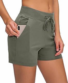 Boladeci 女式夏季跑步锻炼运动瑜伽健身房休息短裤带口袋