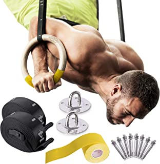 木制体操戒指 - 100 磅承重 w/防滑手带,天花板悬挂五金件,编号可调节肩带和搭扣 - 适用于健身和体重锻炼的训练环