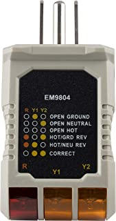 Power Gear 3 Wire Receptacle Tester, Outlet Tester, 6 Visual Indications, Light Indicator, UL Listed, Yellow, 50542