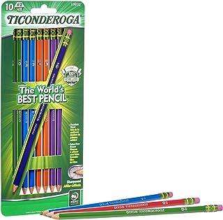 TICONDEROGA 铅笔,木盒石墨,#2 HB 柔软,预磨,各种颜色笔杆,黑色铅,10 支装 (13932)