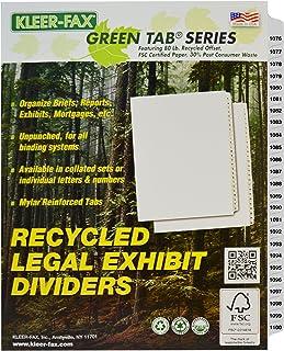 Kleer-Fax 信纸尺寸索引隔板,折叠编号套装,侧标签,1/25 切割,每包 1 套,白色,1076-1100 (87604)