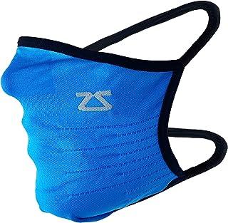 Zensah 技术面罩 - 美国制造可重复使用面料面罩,适用于跑步、锻炼 - 可水洗、透气、舒适、吸湿排汗、快干(蓝色)