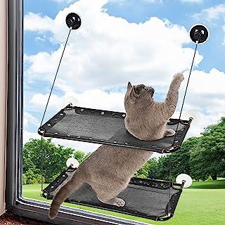 YeGer 猫窗栖息地,猫窗吊床,适用于室内大型猫,大型双层猫窗座,可容纳 2 只及更多猫,*大承重 60 磅