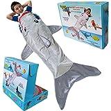 男孩鲨鱼尾巴动物毯。儿童柔软毛绒鲨鱼睡袋毯。有趣的鳍灰色睡袋。舒适的双面貂皮面料投掷。给男孩孩子的温暖舒适礼物