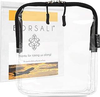 透明旅行化妆包 - 夸脱尺寸适合机场旅行 - 携带和 TSA 认证 - 收纳 3-1-1 液体洗漱用品等