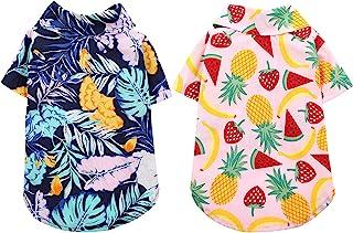 ASENKU 2 件装狗狗夏威夷衬衫透气狗狗夏季衣服酷狗 Polo T 恤花卉狗背心短袖宠物服装带印花椰子树和水果图案适用于中小型犬猫