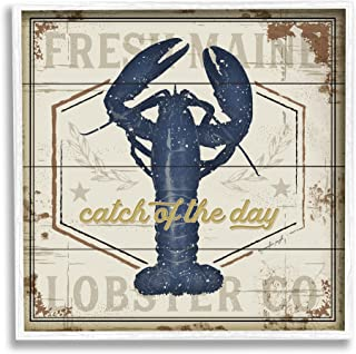 Stupell Industries Catch of The Day 复古蓝色龙虾板图案,由 Jennifer Pugh 白色带框墙艺术,30.48 x 30.48 厘米,米色