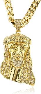 男式冰出耶稣头吊坠项链,带 76.2 厘米 9 毫米古巴链(C-1333)